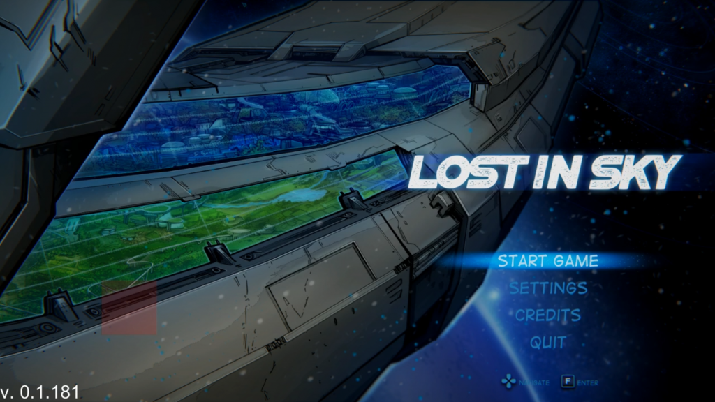 Lost in Sky main menu